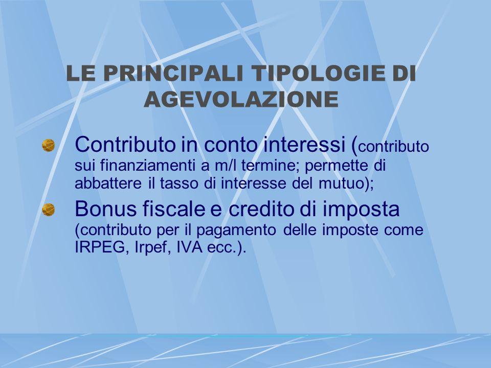 LE PRINCIPALI TIPOLOGIE DI AGEVOLAZIONE Contributo in conto interessi ( contributo sui finanziamenti a m/l termine; permette di abbattere il tasso di