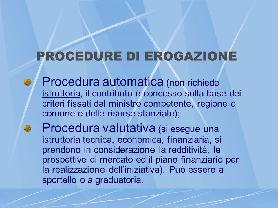 PROCEDURE DI EROGAZIONE Procedura automatica (non richiede istruttoria, il contributo è concesso sulla base dei criteri fissati dal ministro competent