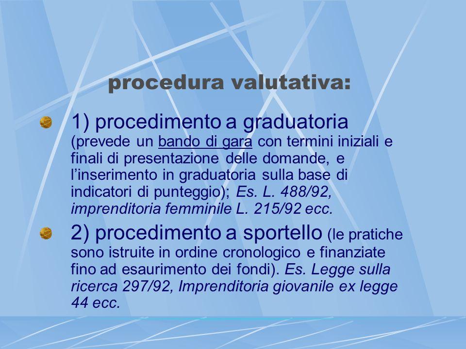 procedura valutativa: 1) procedimento a graduatoria (prevede un bando di gara con termini iniziali e finali di presentazione delle domande, e linserim
