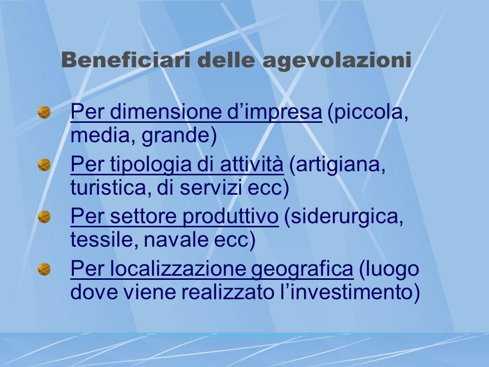 Beneficiari delle agevolazioni Per dimensione dimpresa (piccola, media, grande) Per tipologia di attività (artigiana, turistica, di servizi ecc) Per s