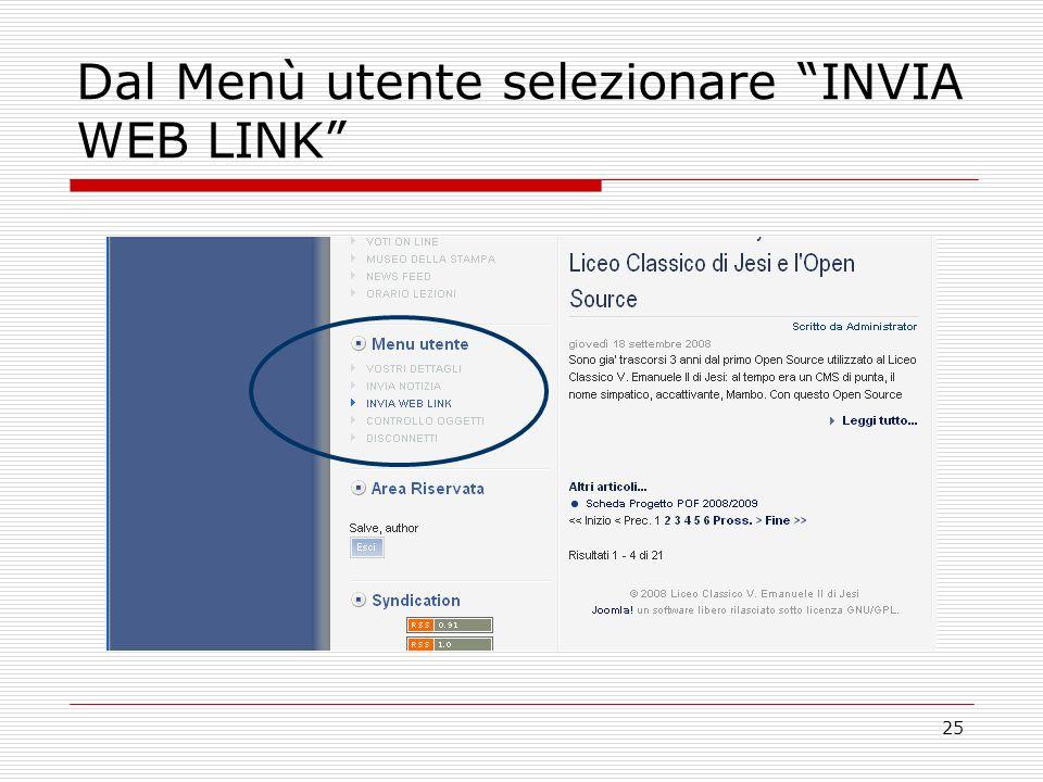 25 Dal Menù utente selezionare INVIA WEB LINK