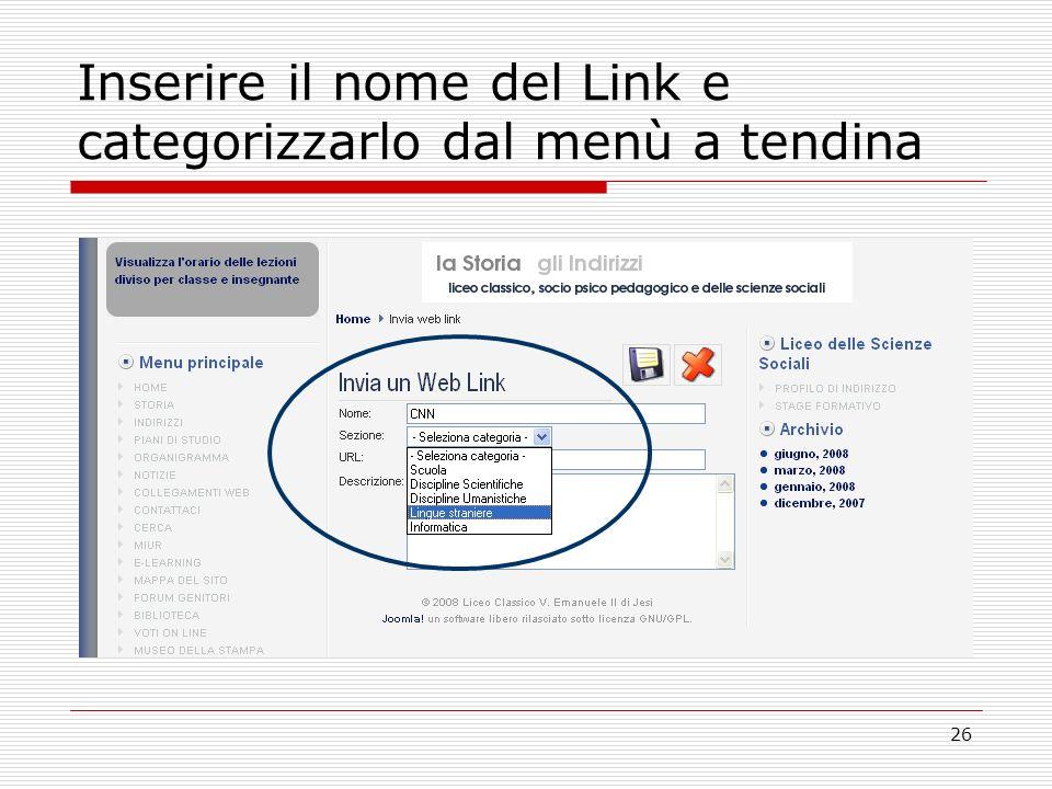 26 Inserire il nome del Link e categorizzarlo dal menù a tendina