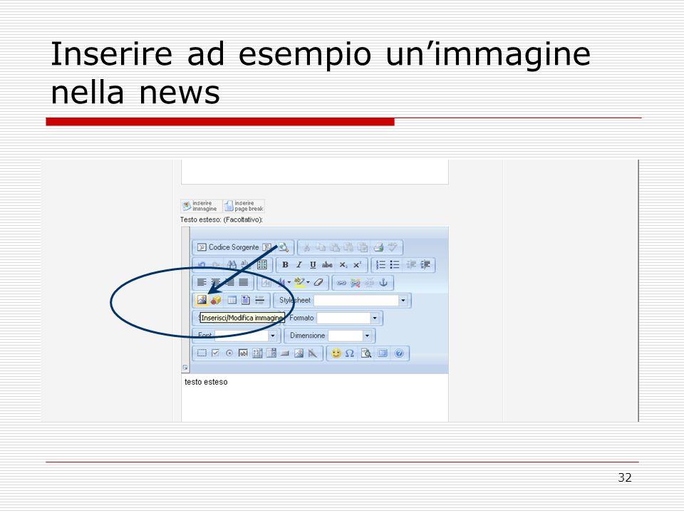 32 Inserire ad esempio unimmagine nella news