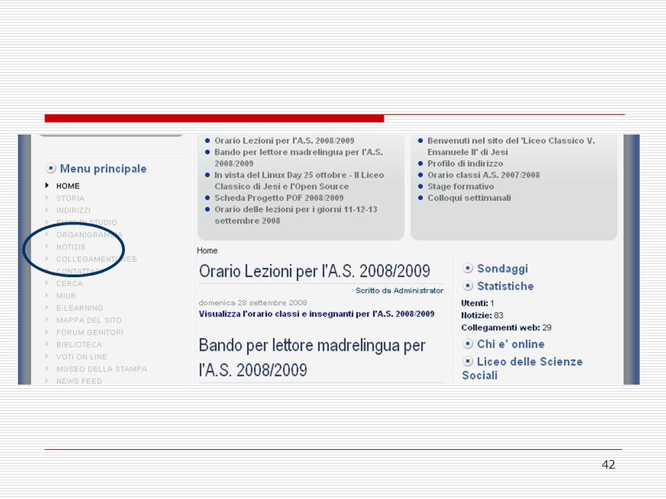 43 Esercitazione 3 Inserimento di un contenuto nelle sezioni/categorie esistenti con un link ipertestuale ad un file (da caricare sul sito) che i visitatori possano visualizzare o scaricare