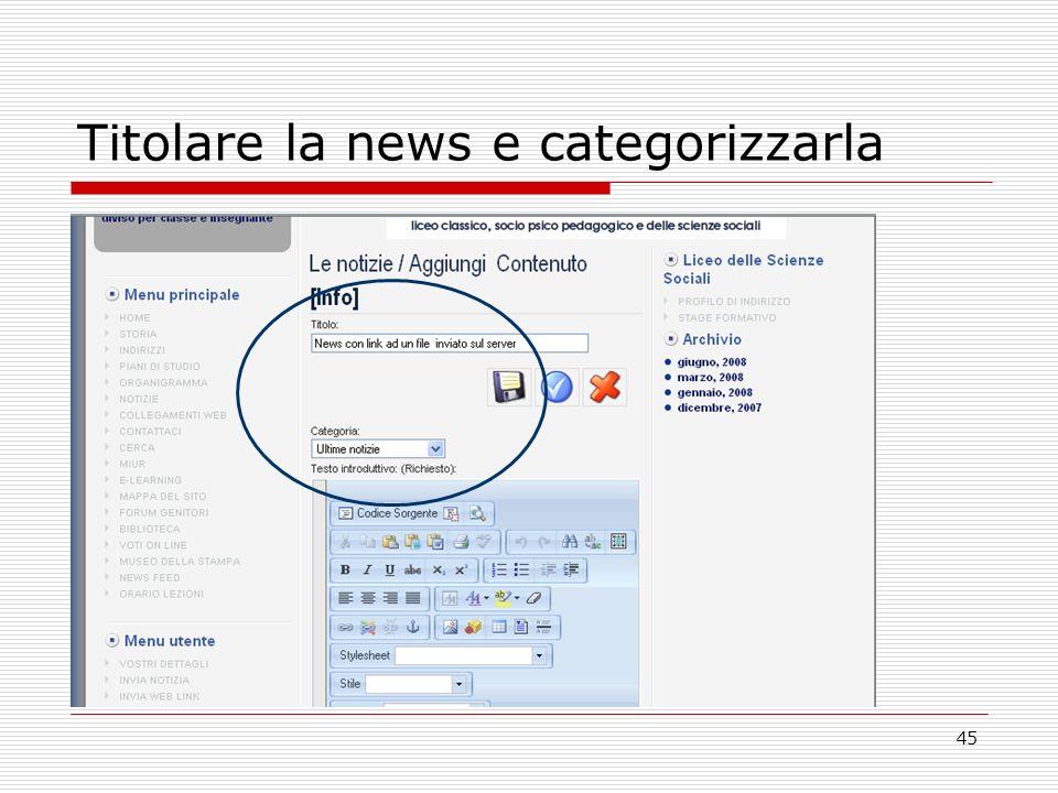 45 Titolare la news e categorizzarla