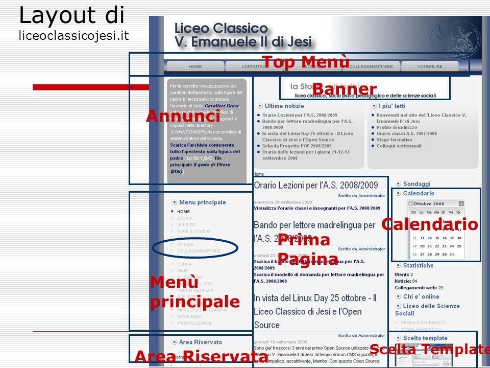 5 Layout di liceoclassicojesi.it Prima Pagina Annunci Top Menù Menù principale Area Riservata Calendario Banner Scelta Template