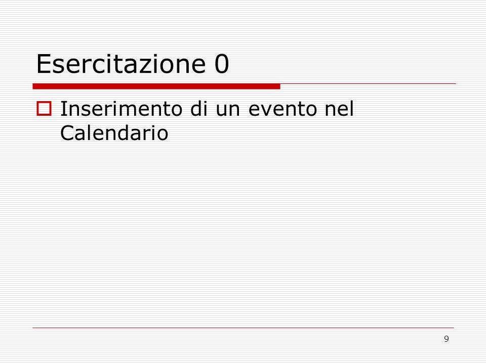 9 Esercitazione 0 Inserimento di un evento nel Calendario