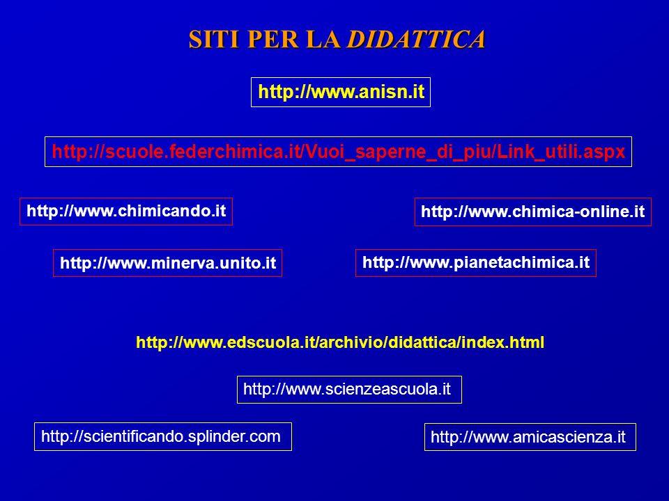 SITI PER LA DIDATTICA http://www.minerva.unito.it http://www.anisn.it http://scientificando.splinder.com http://www.amicascienza.it http://www.scienzeascuola.it http://www.chimicando.it http://scuole.federchimica.it/Vuoi_saperne_di_piu/Link_utili.aspx http://www.edscuola.it/archivio/didattica/index.html http://www.pianetachimica.it http://www.chimica-online.it