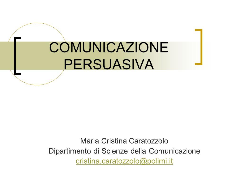 COMUNICAZIONE PERSUASIVA Maria Cristina Caratozzolo Dipartimento di Scienze della Comunicazione cristina.caratozzolo@polimi.it
