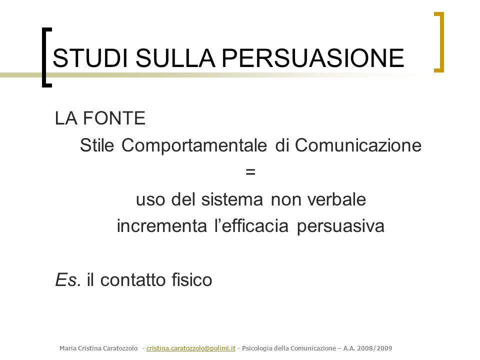 Maria Cristina Caratozzolo - cristina.caratozzolo@polimi.it - Psicologia della Comunicazione – A.A. 2008/2009cristina.caratozzolo@polimi.it LA FONTE S