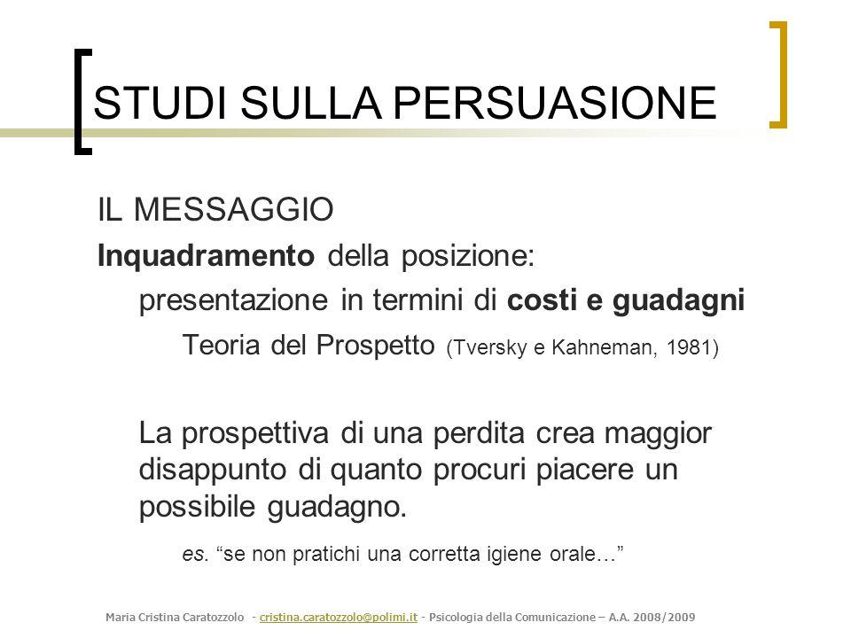 Maria Cristina Caratozzolo - cristina.caratozzolo@polimi.it - Psicologia della Comunicazione – A.A. 2008/2009cristina.caratozzolo@polimi.it IL MESSAGG