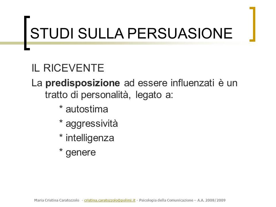 Maria Cristina Caratozzolo - cristina.caratozzolo@polimi.it - Psicologia della Comunicazione – A.A. 2008/2009cristina.caratozzolo@polimi.it IL RICEVEN
