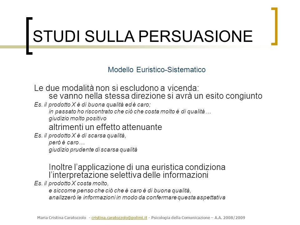 Maria Cristina Caratozzolo - cristina.caratozzolo@polimi.it - Psicologia della Comunicazione – A.A. 2008/2009cristina.caratozzolo@polimi.it Modello Eu