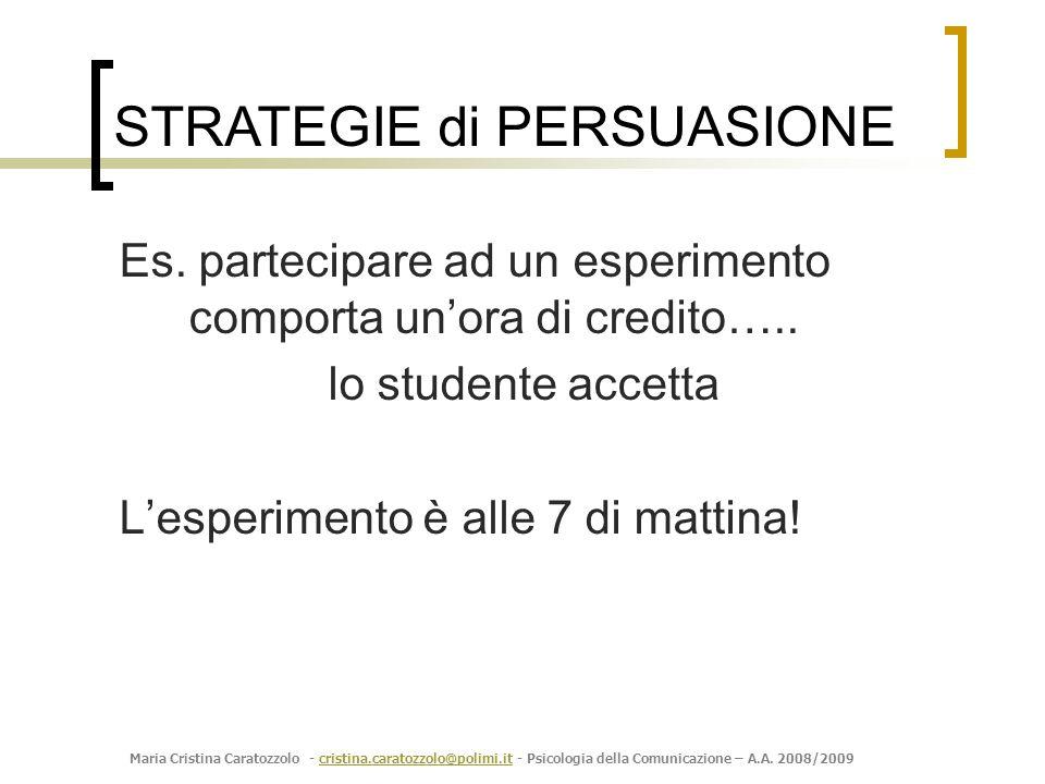 Maria Cristina Caratozzolo - cristina.caratozzolo@polimi.it - Psicologia della Comunicazione – A.A. 2008/2009cristina.caratozzolo@polimi.it Es. partec