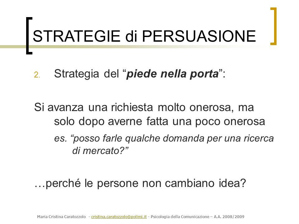 Maria Cristina Caratozzolo - cristina.caratozzolo@polimi.it - Psicologia della Comunicazione – A.A. 2008/2009cristina.caratozzolo@polimi.it 2. Strateg
