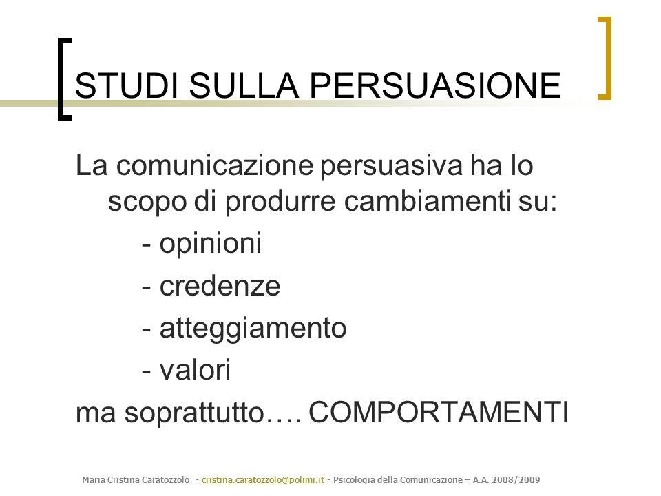 Maria Cristina Caratozzolo - cristina.caratozzolo@polimi.it - Psicologia della Comunicazione – A.A. 2008/2009cristina.caratozzolo@polimi.it STUDI SULL