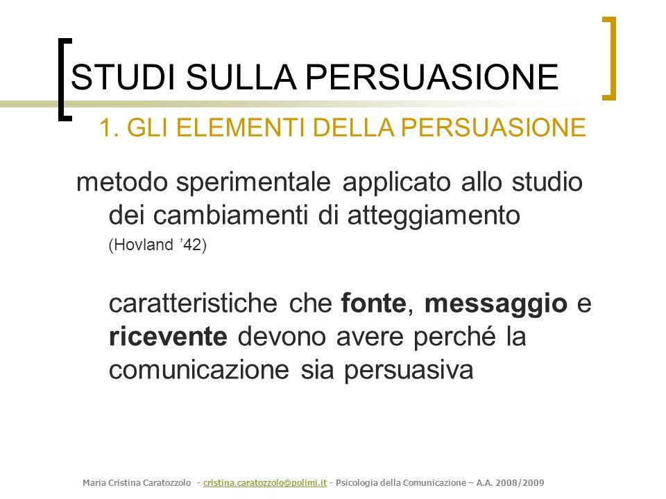 Maria Cristina Caratozzolo - cristina.caratozzolo@polimi.it - Psicologia della Comunicazione – A.A. 2008/2009cristina.caratozzolo@polimi.it metodo spe