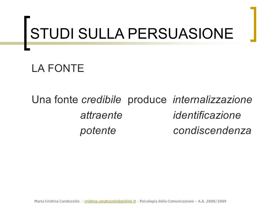 Maria Cristina Caratozzolo - cristina.caratozzolo@polimi.it - Psicologia della Comunicazione – A.A. 2008/2009cristina.caratozzolo@polimi.it LA FONTE U