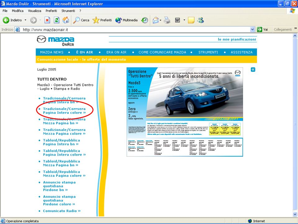PAN ADVERTISING B2D http://www.mazdaonair.it