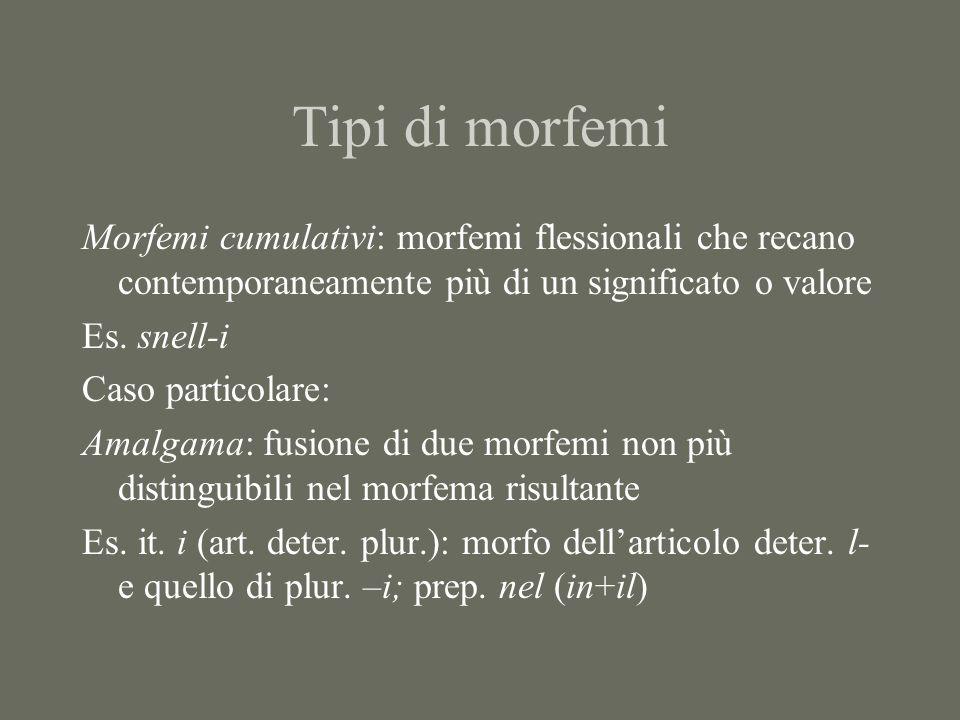 Tipi di morfemi Morfemi cumulativi: morfemi flessionali che recano contemporaneamente più di un significato o valore Es. snell-i Caso particolare: Ama