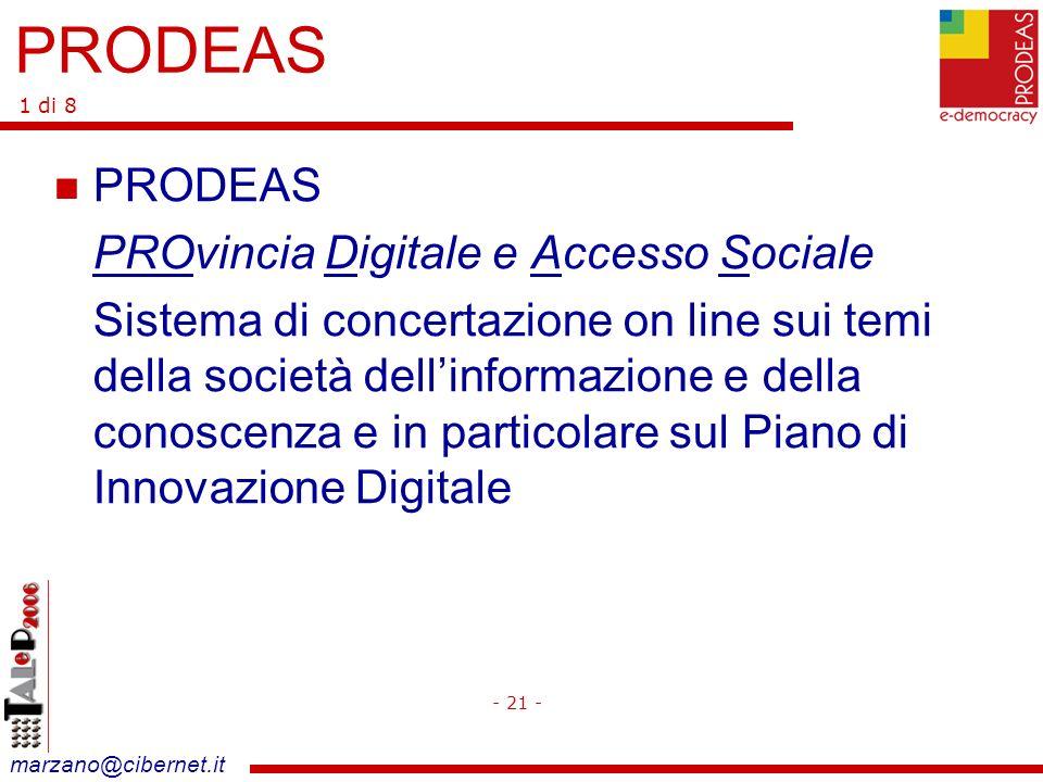 marzano@cibernet.it PRODEAS PROvincia Digitale e Accesso Sociale Sistema di concertazione on line sui temi della società dellinformazione e della conoscenza e in particolare sul Piano di Innovazione Digitale - 21 - PRODEAS 1 di 8