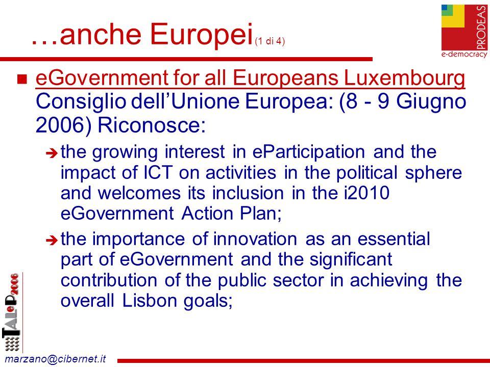 marzano@cibernet.it Obiettivi (3 di 3) realizzare una applicazione specifica per la concertazione da riusare internamente (altre aree tematiche nell ente locale Provincia di Roma) e sul territorio (concertazione sui Piani di Innovazione in altri enti) - 24 - PRODEAS 4 di 8