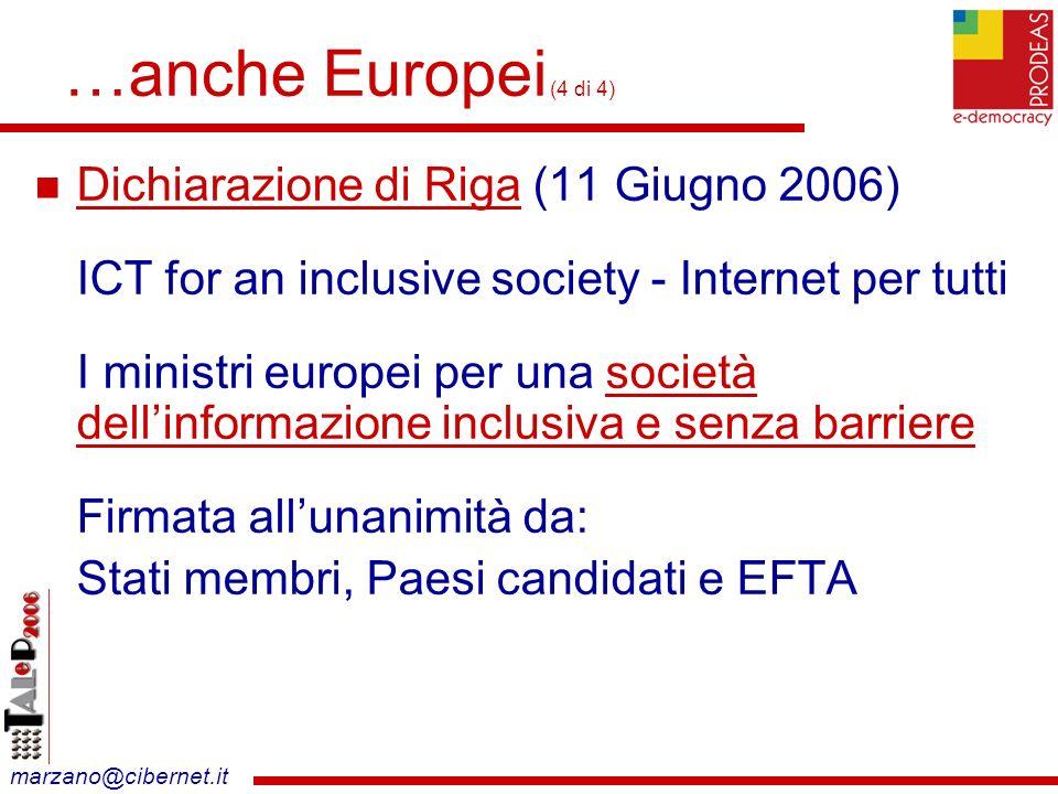 marzano@cibernet.it …anche Europei (4 di 4) Dichiarazione di Riga (11 Giugno 2006) ICT for an inclusive society - Internet per tutti I ministri europei per una società dellinformazione inclusiva e senza barriere Firmata allunanimità da: Stati membri, Paesi candidati e EFTA