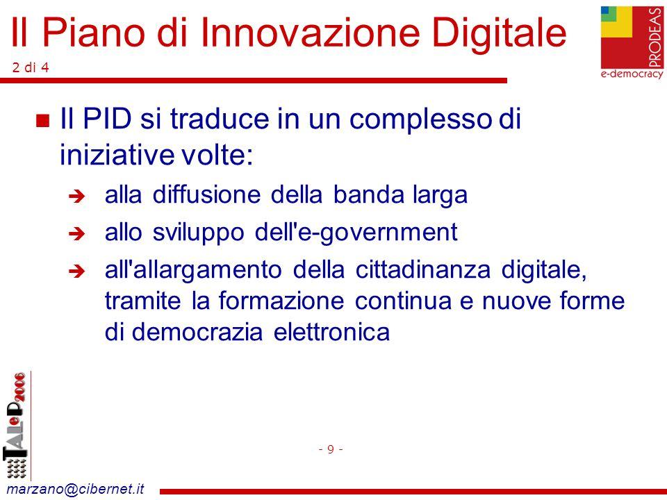 marzano@cibernet.it Lo scenario di riferimento: e-Europe Piano di e-government Piano della Regione Lazio Il ruolo della Provincia - 10 - Il Piano di Innovazione Digitale 3 di 4