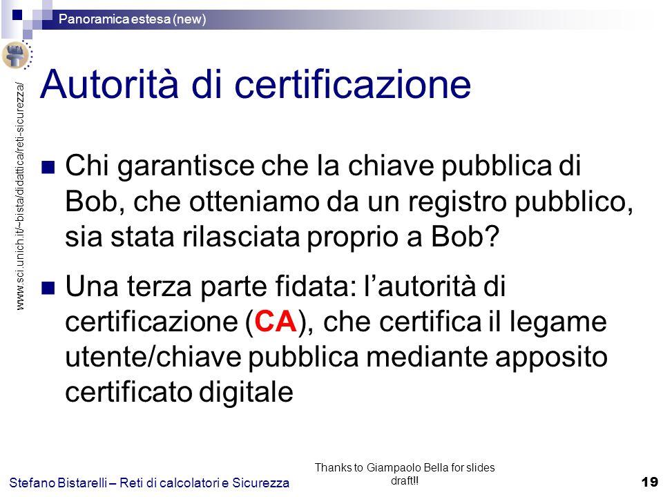 www.sci.unich.it/~bista/didattica/reti-sicurezza/ Panoramica estesa (new) 19 Stefano Bistarelli – Reti di calcolatori e Sicurezza Thanks to Giampaolo