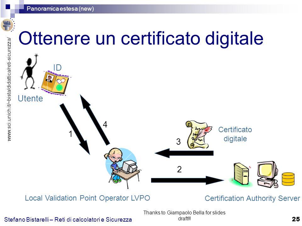 www.sci.unich.it/~bista/didattica/reti-sicurezza/ Panoramica estesa (new) 25 Stefano Bistarelli – Reti di calcolatori e Sicurezza Thanks to Giampaolo