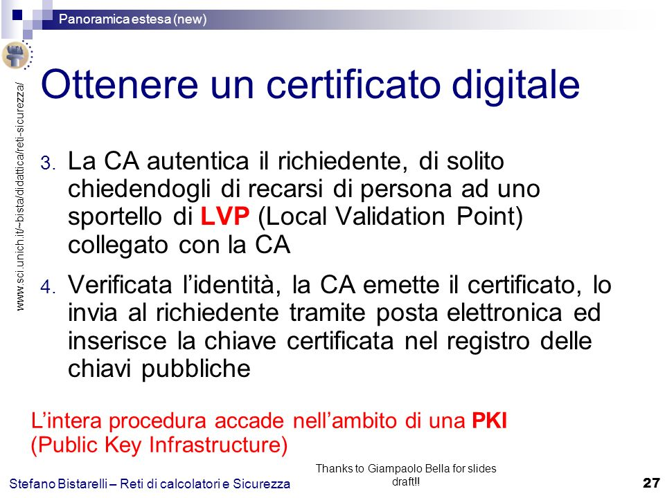 www.sci.unich.it/~bista/didattica/reti-sicurezza/ Panoramica estesa (new) 27 Stefano Bistarelli – Reti di calcolatori e Sicurezza Thanks to Giampaolo Bella for slides draft!.