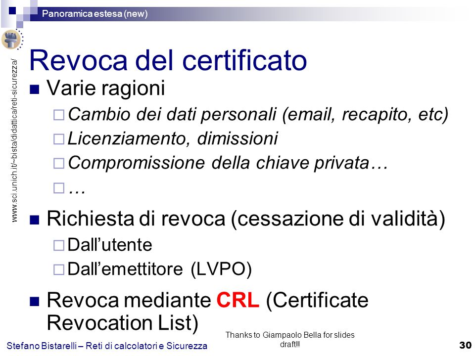 www.sci.unich.it/~bista/didattica/reti-sicurezza/ Panoramica estesa (new) 30 Stefano Bistarelli – Reti di calcolatori e Sicurezza Thanks to Giampaolo Bella for slides draft!.