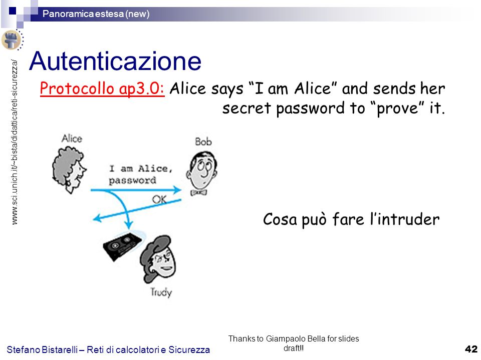 www.sci.unich.it/~bista/didattica/reti-sicurezza/ Panoramica estesa (new) 42 Stefano Bistarelli – Reti di calcolatori e Sicurezza Thanks to Giampaolo Bella for slides draft!.