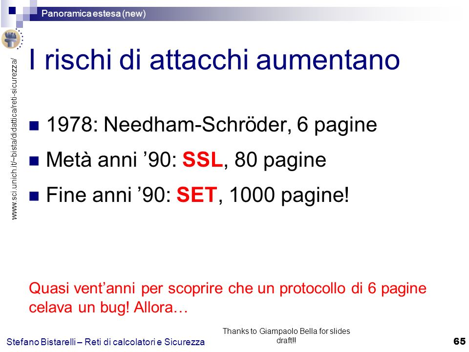 www.sci.unich.it/~bista/didattica/reti-sicurezza/ Panoramica estesa (new) 65 Stefano Bistarelli – Reti di calcolatori e Sicurezza Thanks to Giampaolo Bella for slides draft!.