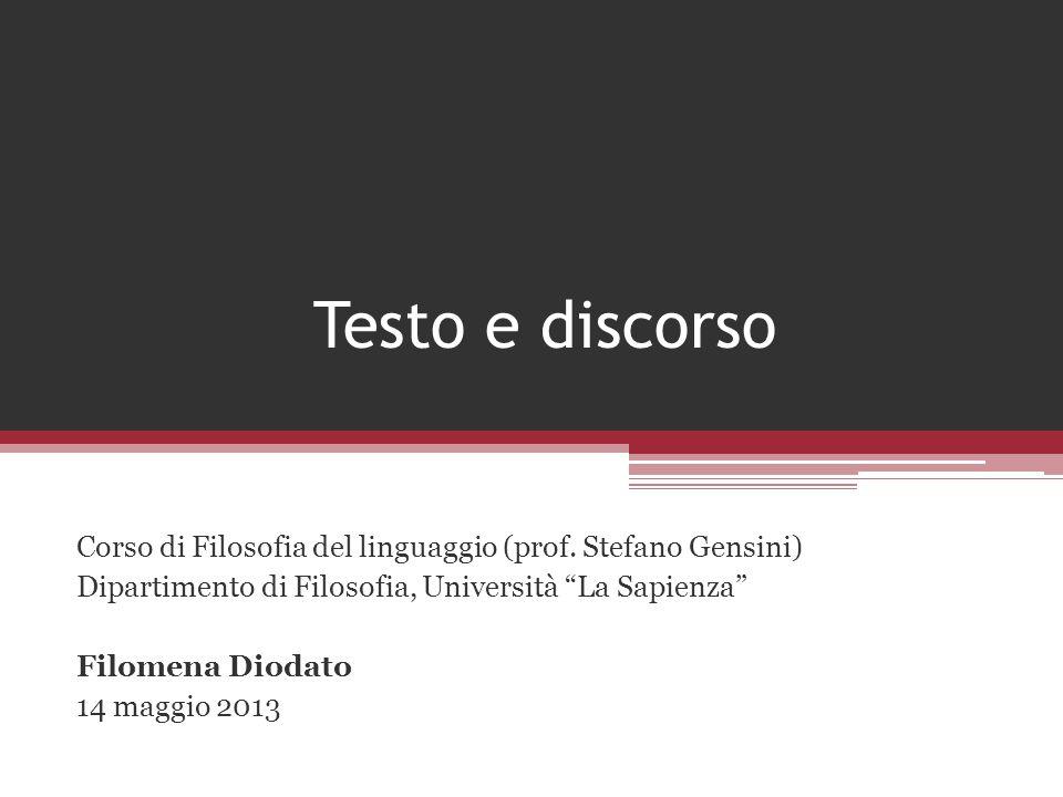 Testo e discorso Corso di Filosofia del linguaggio (prof. Stefano Gensini) Dipartimento di Filosofia, Università La Sapienza Filomena Diodato 14 maggi
