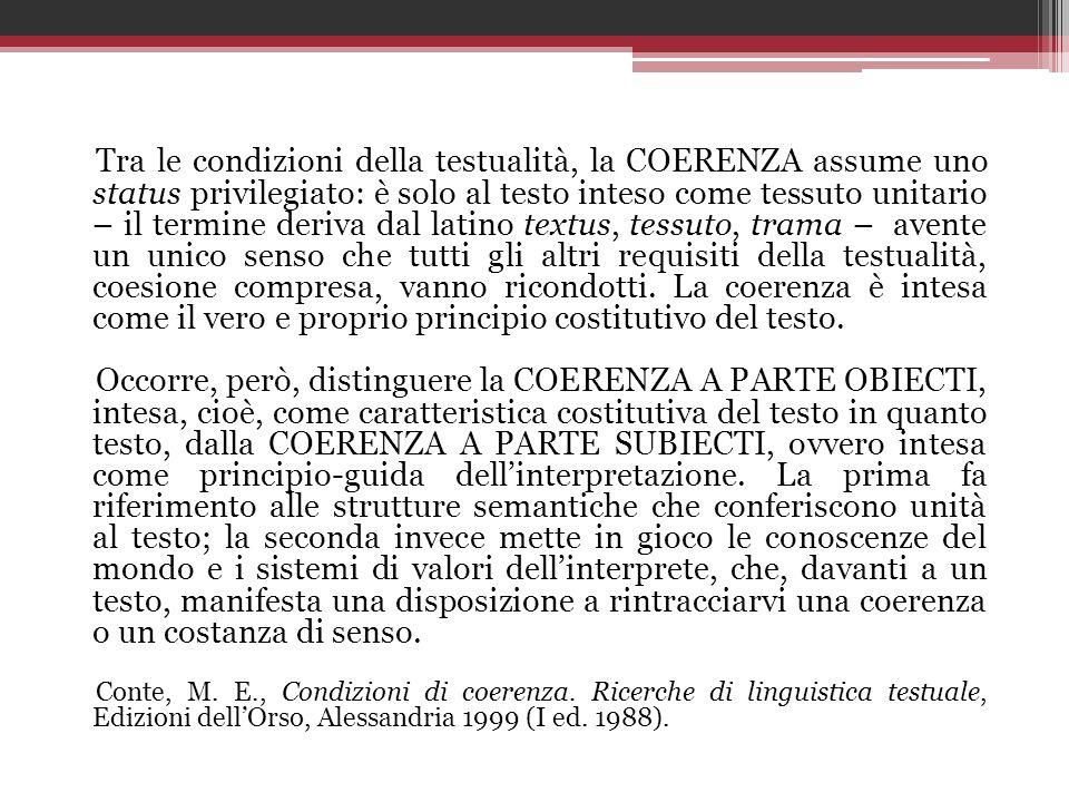 Tra le condizioni della testualità, la COERENZA assume uno status privilegiato: è solo al testo inteso come tessuto unitario – il termine deriva dal l