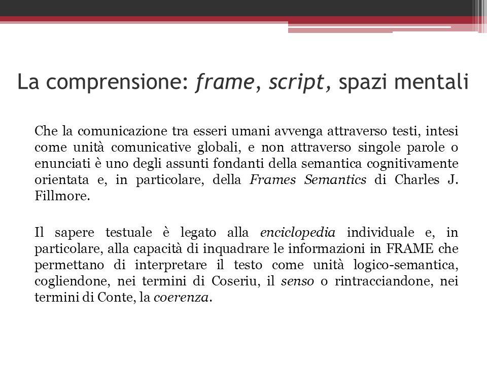 La comprensione: frame, script, spazi mentali Che la comunicazione tra esseri umani avvenga attraverso testi, intesi come unità comunicative globali,