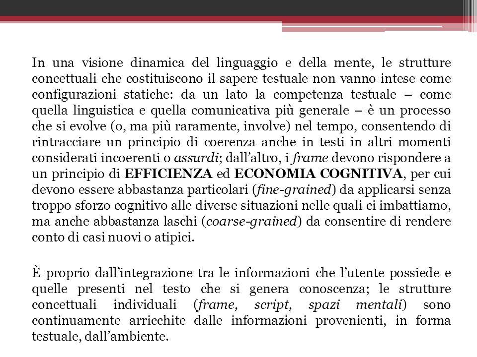 In una visione dinamica del linguaggio e della mente, le strutture concettuali che costituiscono il sapere testuale non vanno intese come configurazio