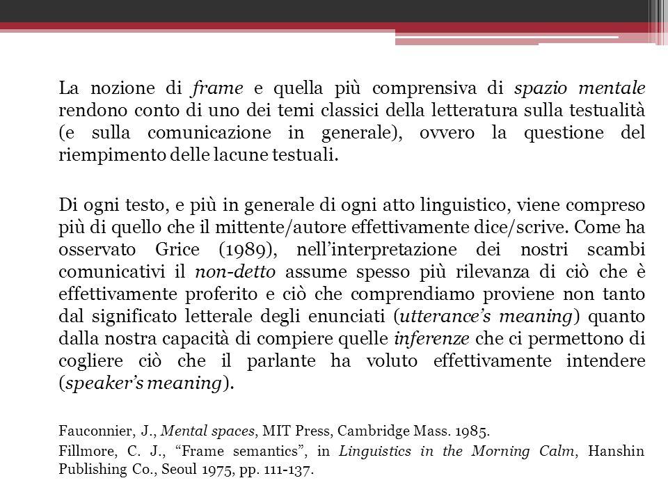 La nozione di frame e quella più comprensiva di spazio mentale rendono conto di uno dei temi classici della letteratura sulla testualità (e sulla comu