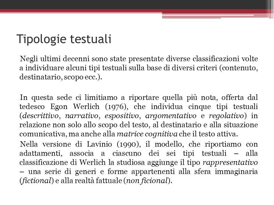 Tipologie testuali Negli ultimi decenni sono state presentate diverse classificazioni volte a individuare alcuni tipi testuali sulla base di diversi c