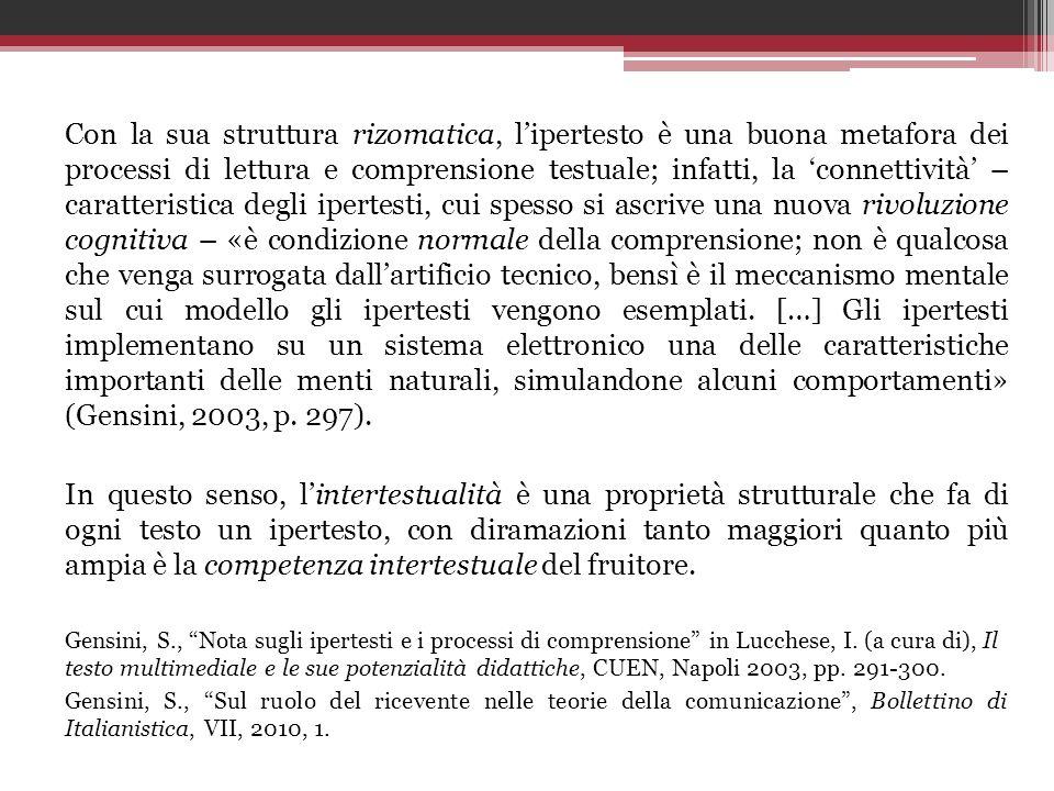 Con la sua struttura rizomatica, lipertesto è una buona metafora dei processi di lettura e comprensione testuale; infatti, la connettività – caratteri