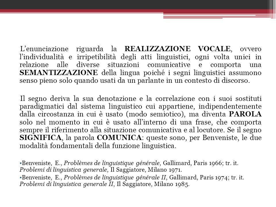Lenunciazione riguarda la REALIZZAZIONE VOCALE, ovvero lindividualità e irripetibilità degli atti linguistici, ogni volta unici in relazione alle dive