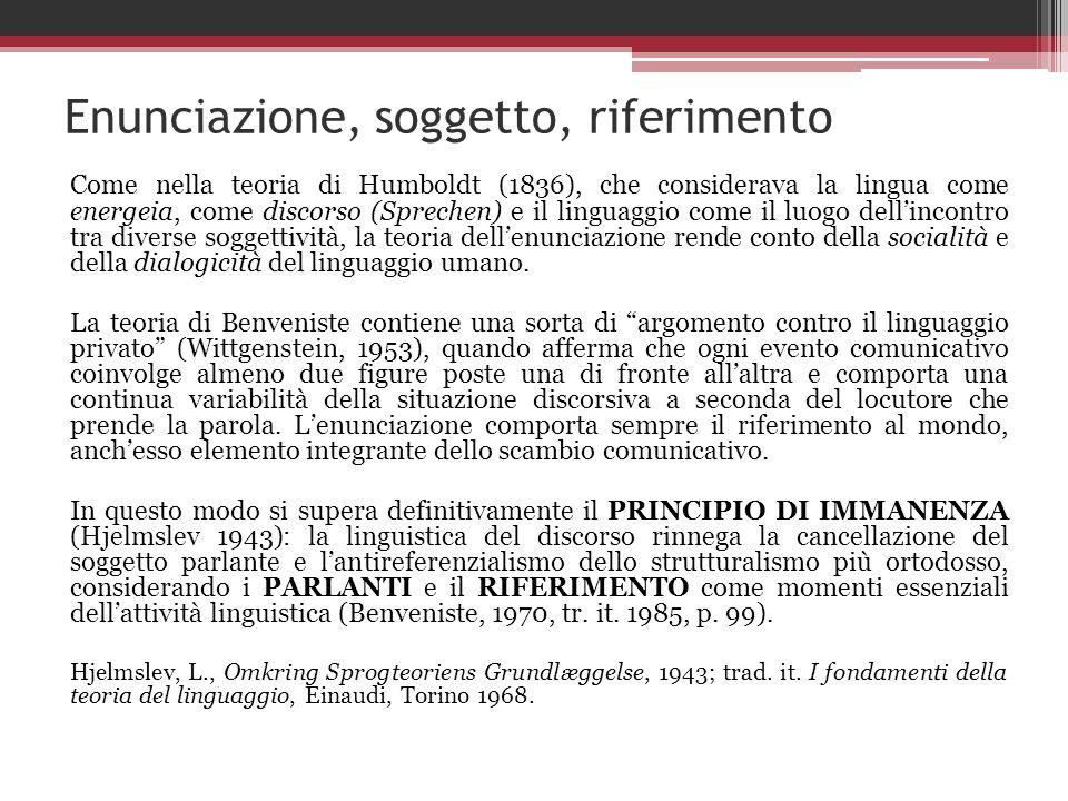 Enunciazione, soggetto, riferimento Come nella teoria di Humboldt (1836), che considerava la lingua come energeia, come discorso (Sprechen) e il lingu