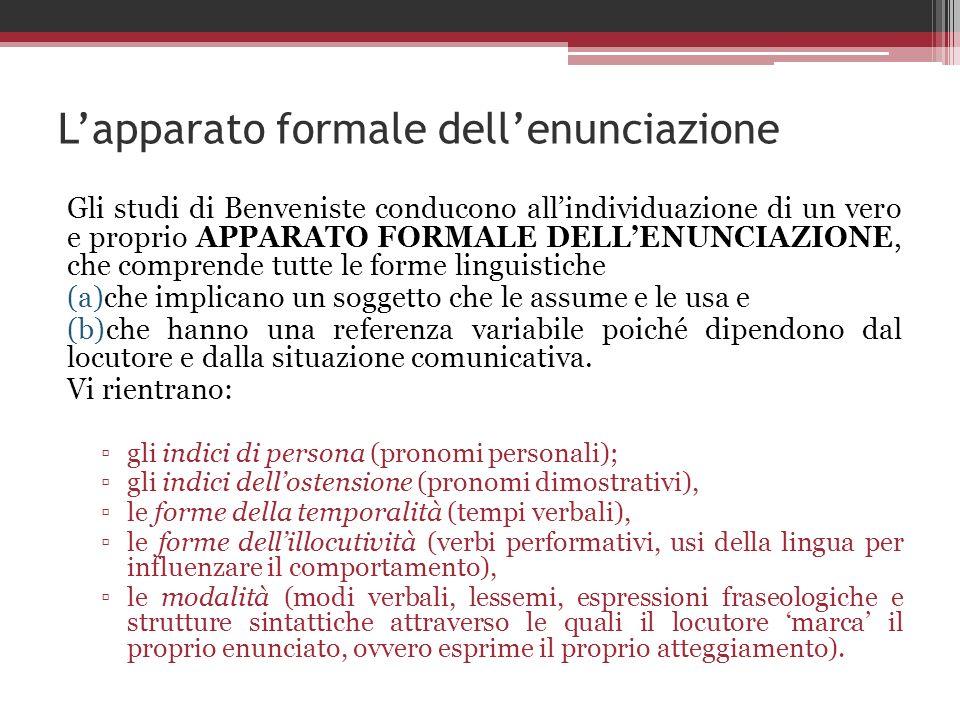 Lapparato formale dellenunciazione Gli studi di Benveniste conducono allindividuazione di un vero e proprio APPARATO FORMALE DELLENUNCIAZIONE, che com