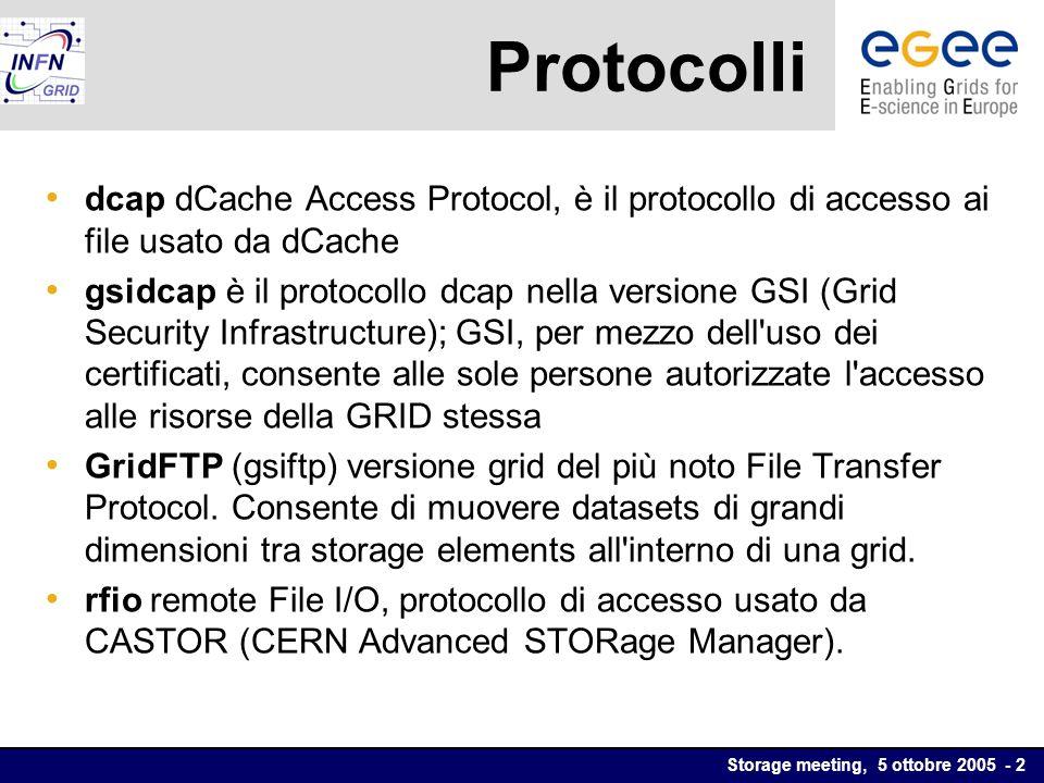Storage meeting, 5 ottobre 2005 - 2 Protocolli dcap dCache Access Protocol, è il protocollo di accesso ai file usato da dCache gsidcap è il protocollo dcap nella versione GSI (Grid Security Infrastructure); GSI, per mezzo dell uso dei certificati, consente alle sole persone autorizzate l accesso alle risorse della GRID stessa GridFTP (gsiftp) versione grid del più noto File Transfer Protocol.