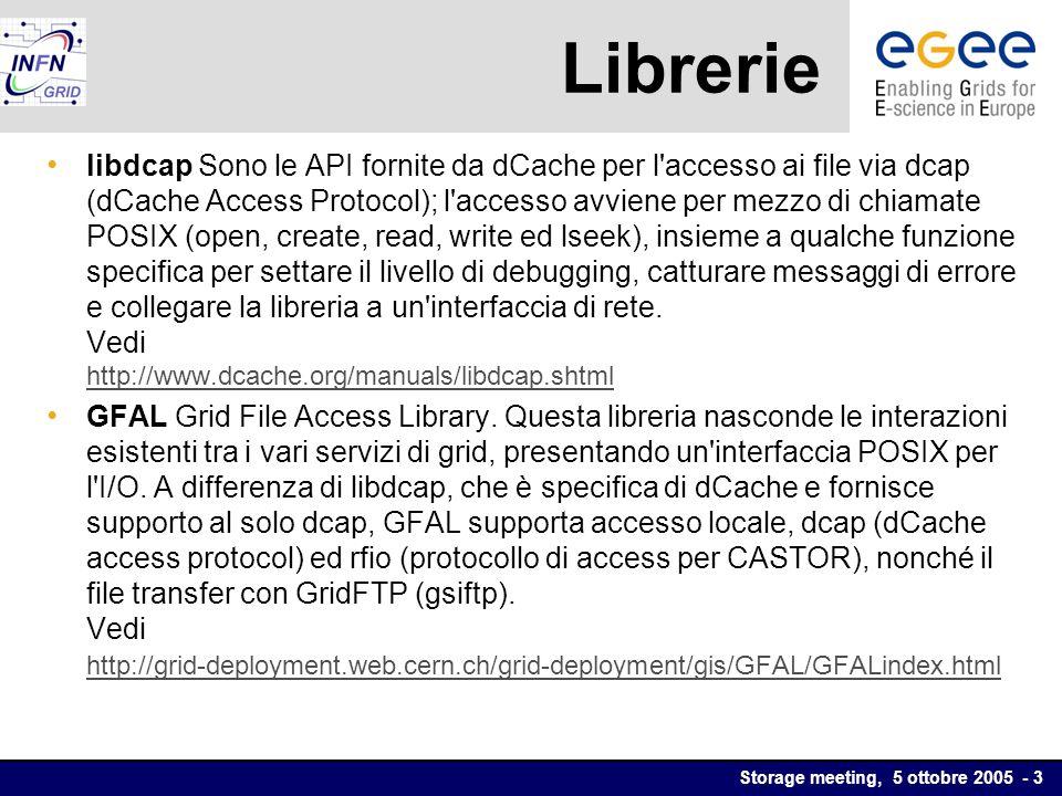 Storage meeting, 5 ottobre 2005 - 3 Librerie libdcap Sono le API fornite da dCache per l accesso ai file via dcap (dCache Access Protocol); l accesso avviene per mezzo di chiamate POSIX (open, create, read, write ed lseek), insieme a qualche funzione specifica per settare il livello di debugging, catturare messaggi di errore e collegare la libreria a un interfaccia di rete.