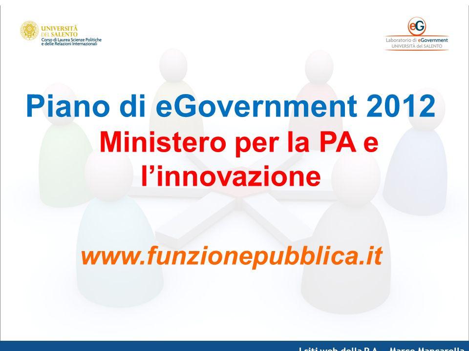 I siti web della P.A. – Marco Mancarella Piano di eGovernment 2012 Ministero per la PA e linnovazione www.funzionepubblica.it