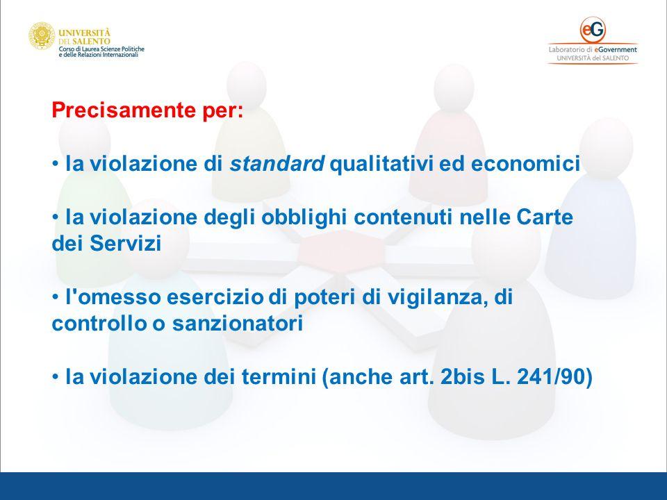 Precisamente per: la violazione di standard qualitativi ed economici la violazione degli obblighi contenuti nelle Carte dei Servizi l'omesso esercizio