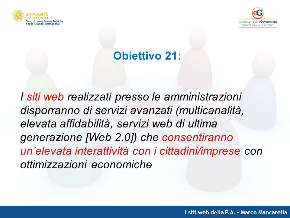 I siti web della P.A. – Marco Mancarella Obiettivo 21: I siti web realizzati presso le amministrazioni disporranno di servizi avanzati (multicanalità,