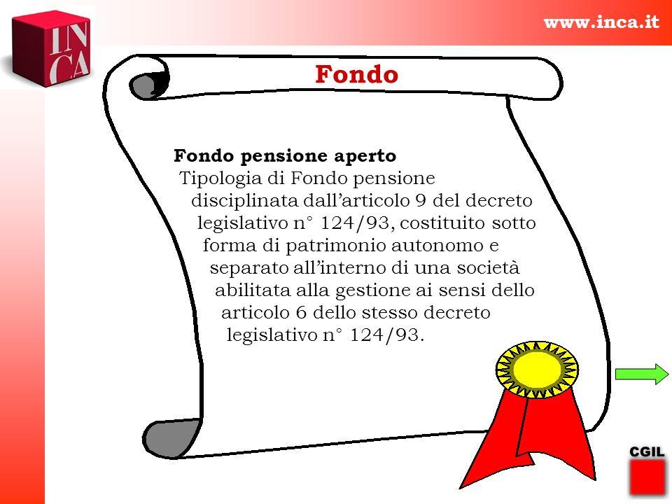 www.inca.it Fondo Fondo pensione aperto Tipologia di Fondo pensione disciplinata dallarticolo 9 del decreto legislativo n° 124/93, costituito sotto fo